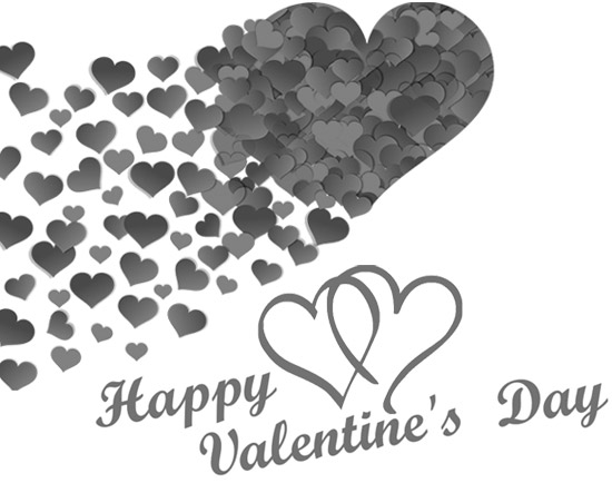 happy valentines day clipart black and white hearts