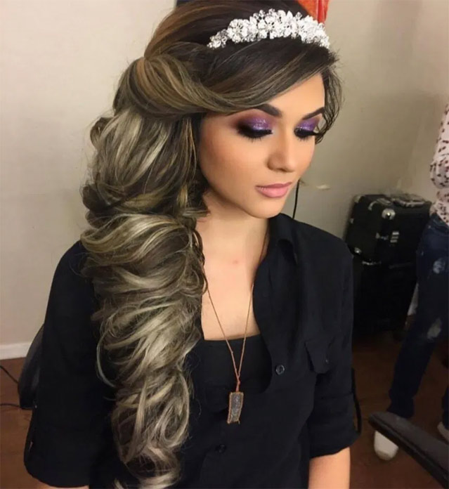 quinceanera hairstyles for long hair to the side