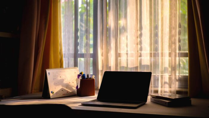 dark home office room virtual background with window curtains