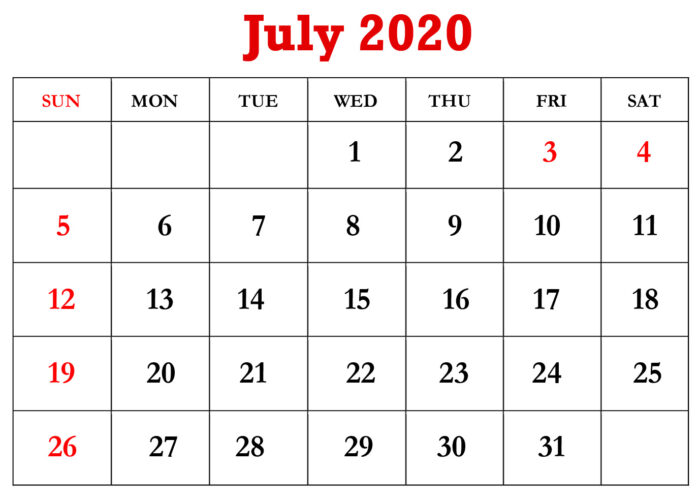 free printable july 2020 calendar download