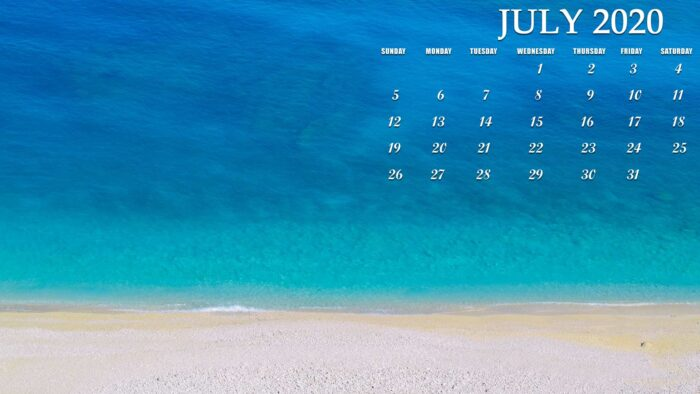 july 2020 calendar desktop wallpaper free