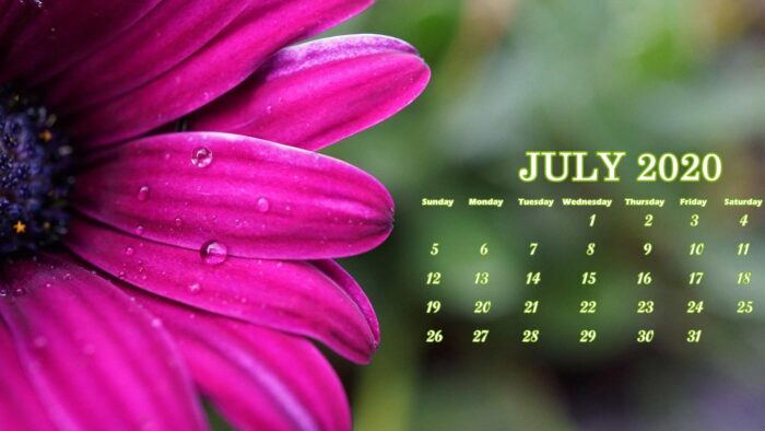 July 2020 calendar wallpaper for desktop