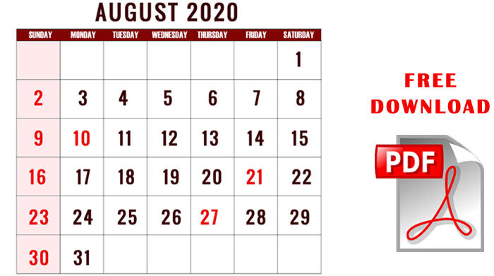 August 2020 calendar pdf download cute blank