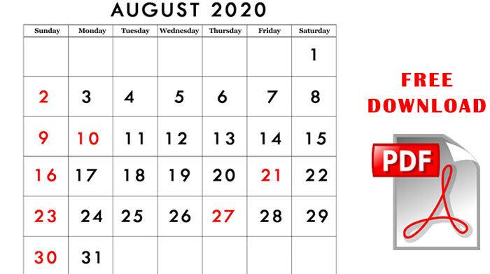 August 2020 calendar pdf printable template