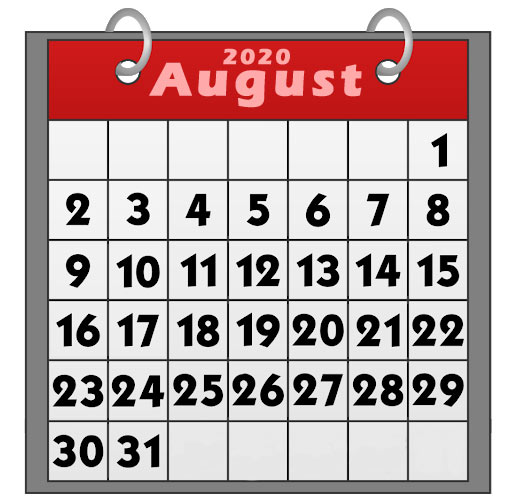 Printable August 2020 calendar clipart