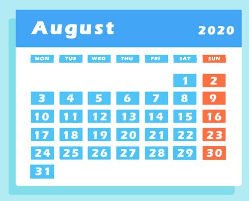 August 2020 calendar clipart images