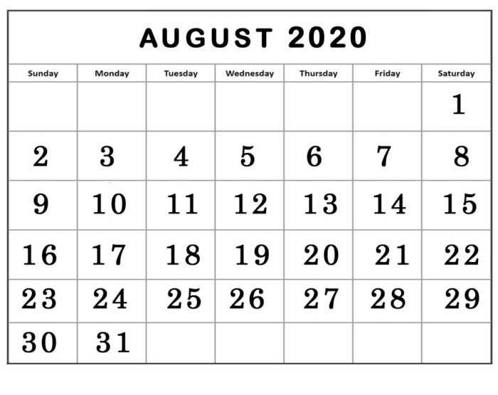 august 2020 calendar landscape template