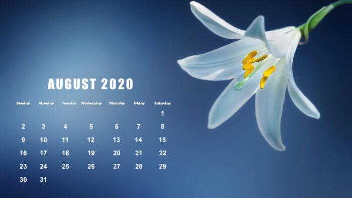 August 2020 calendar wallpaper floral