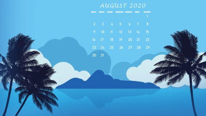 august 2020 calendar wallpaper background beach