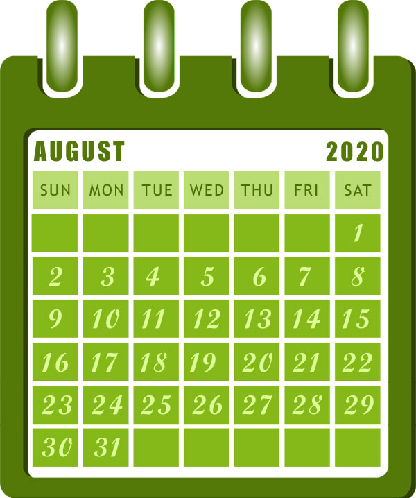 free printable august 2020 calendar clipart images