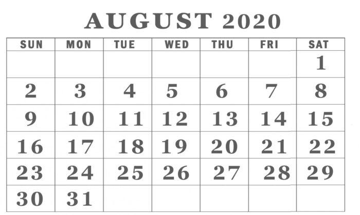 free printable august 2020 calendar landscape