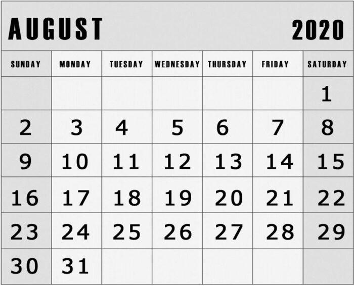 Printable August 2020 calendar landscape