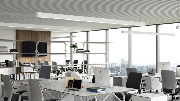 Sky top window office teams background with desk chairs
