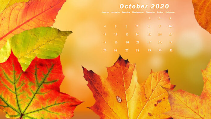 october 2020 calendar wallpaper