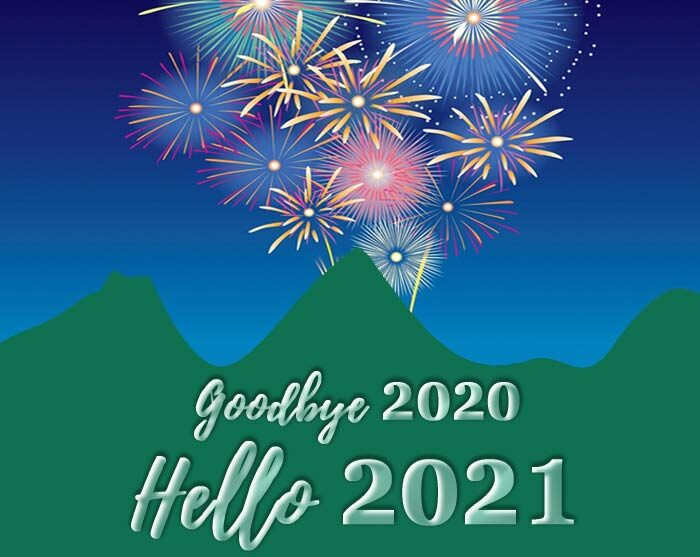 goodbye 2020 hello 2021 greetings card wishes banner