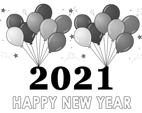 happy new year 2021 clip art black and white balloons free images