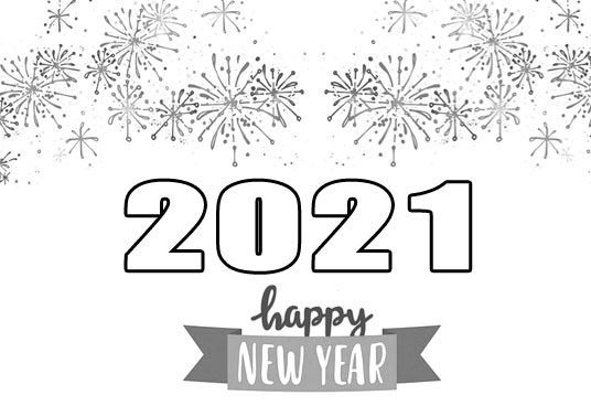 happy new year 2021 clipart black and white fireworks