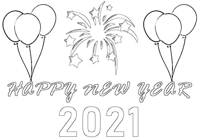 happy new year 2021 coloring pages Printable page kids preschools