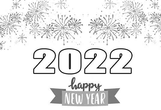 happy new year 2022 clip art black and white free images