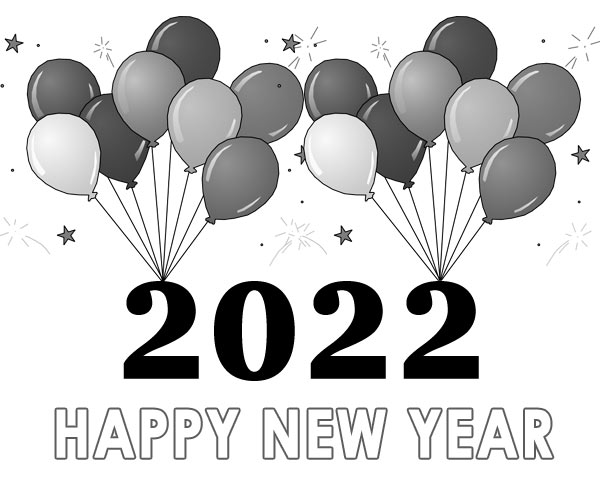 happy new year 2022 clipart black and white