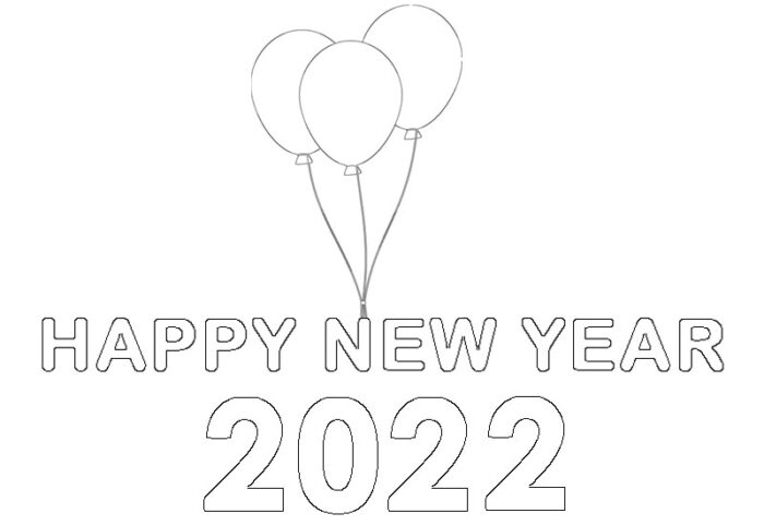 happy new year 2022 coloring page