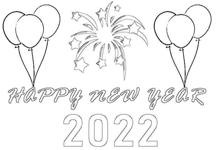 happy new year 2022 coloring pages Printable page kids preschools