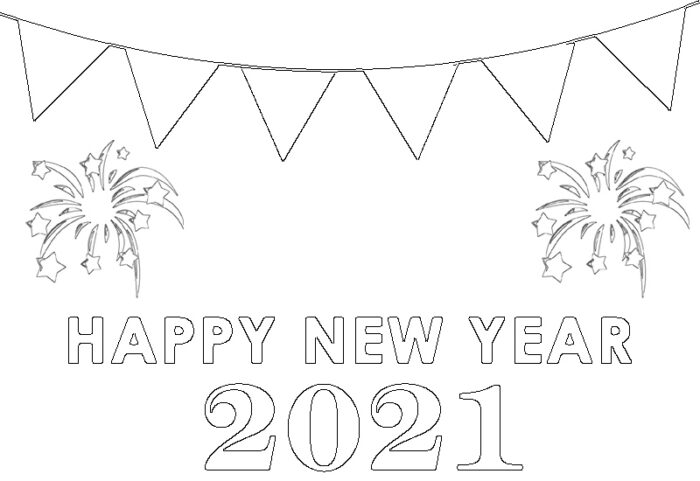 happy new year 2021 coloring images free