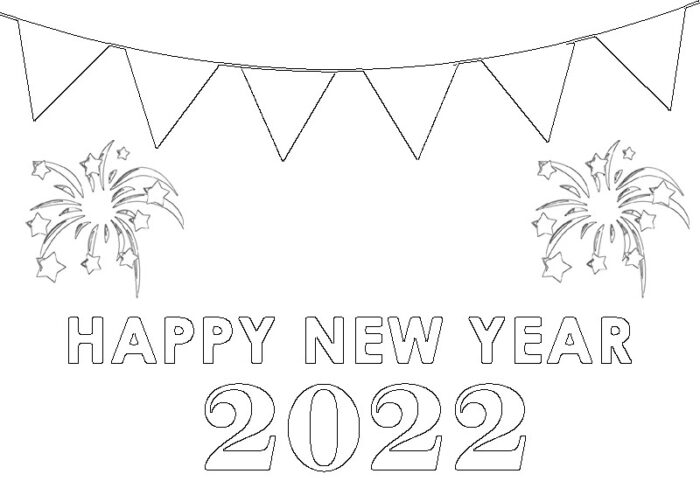 kindergarten happy new year 2022 coloring images free