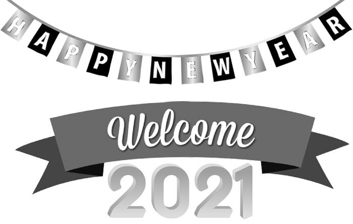 welcome 2021 clipart black and white
