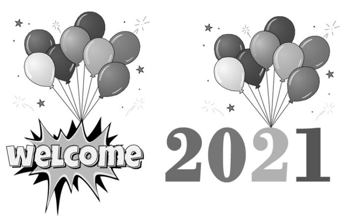 welcome 2021 clipart black and white free images balloons