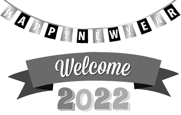 Welcome 2022 clipart black and white