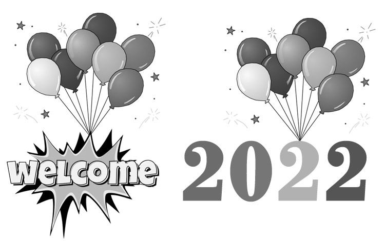 Welcome 2022 clipart black and white free images balloons