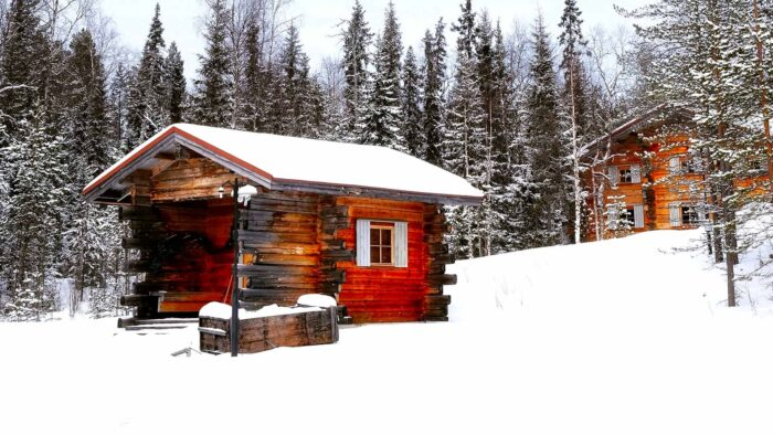 Winter cabin Zoom background images