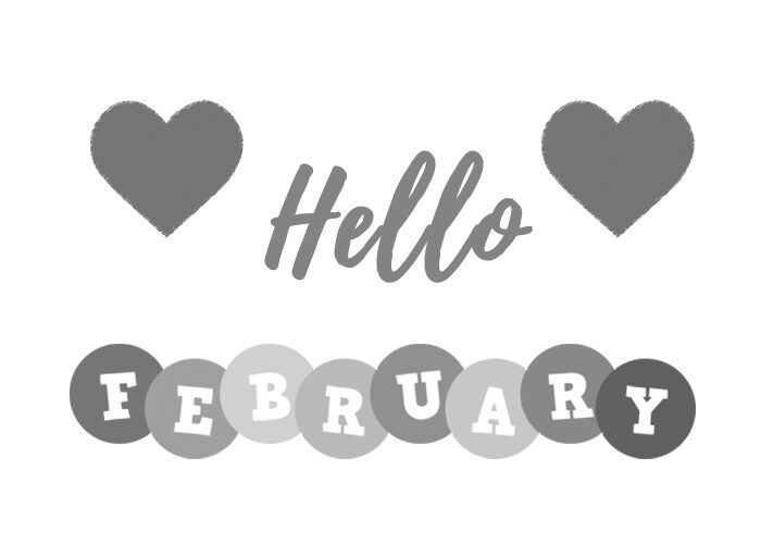 hello february clipart 2021 black and white clip art