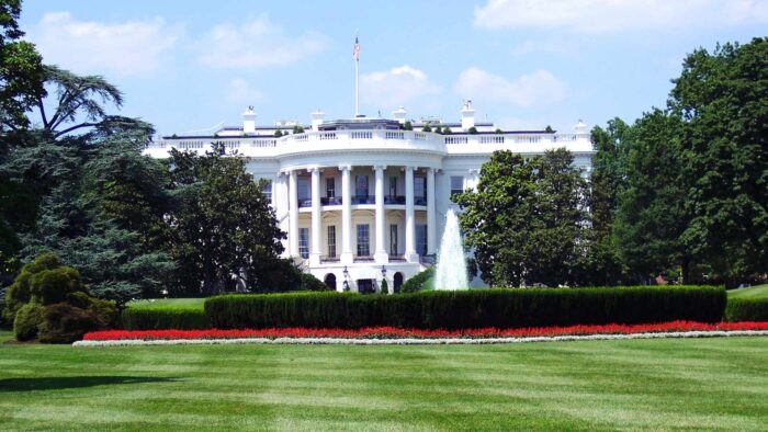 white house zoom background with lawn rose garden