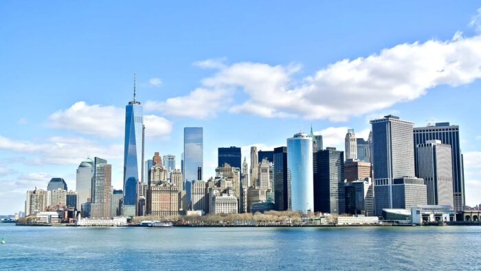 microsoft teams new york background images river NYC buildings skyscrapers