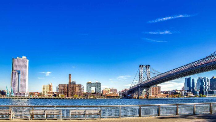new york microsoft teams background virtual meetings modern city skyline Manhattan bridge river