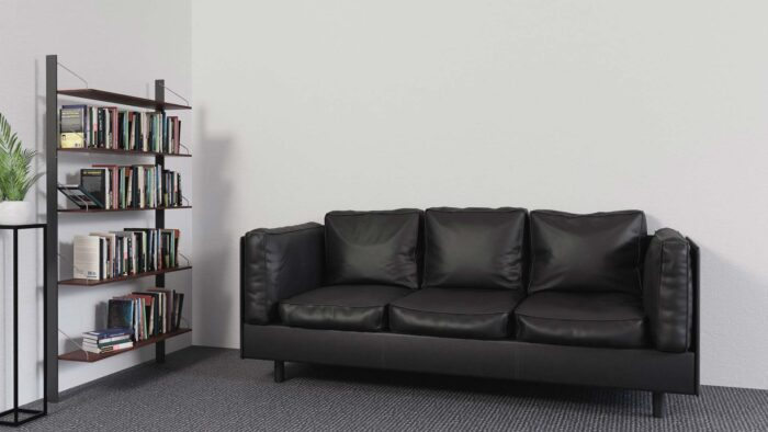 Home library bookshelf black couch google meet background