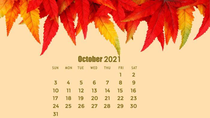 free october 2021 calendar wallpaper background desktop laptop computer